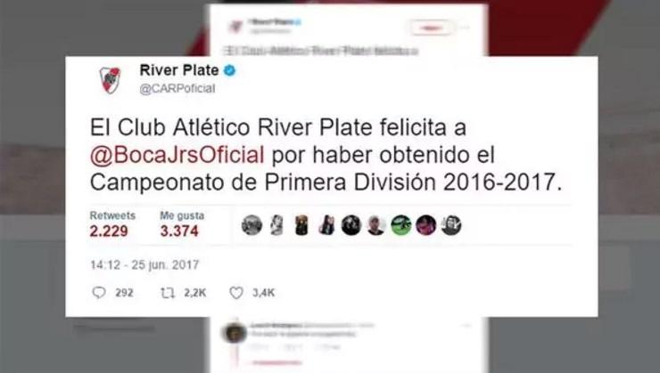 River felicitó a Boca por el título