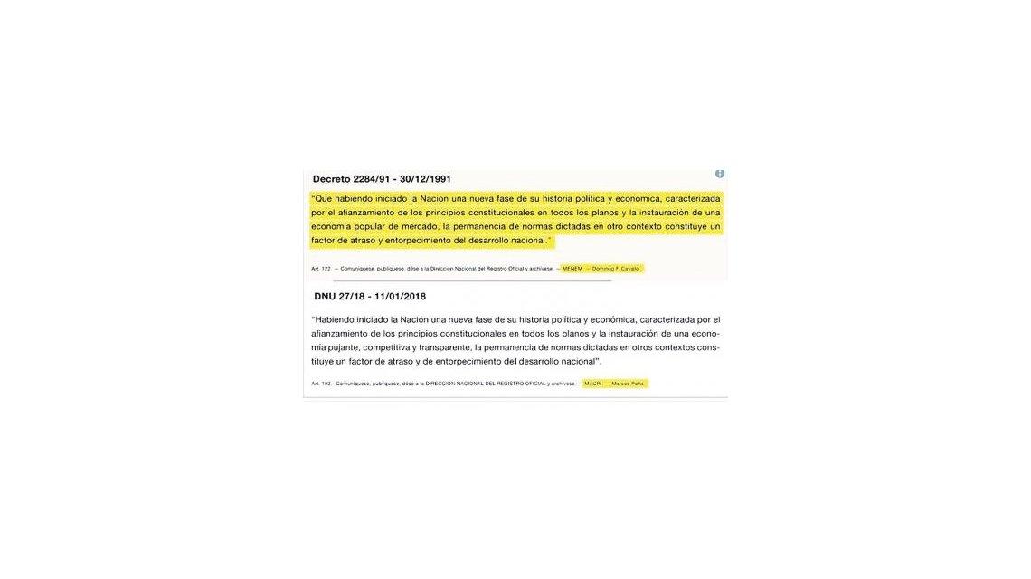 El Gobierno copió un decreto de Menem para fundamentar un DNU