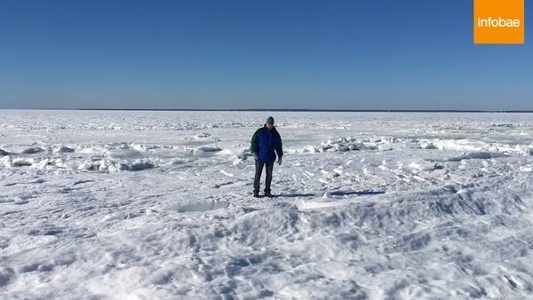 Increíbles imágenes del mar congelado en Massachusetts