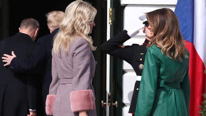 Trump olvida a Melania en recibimiento de primer ministro checo