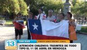 Atenci�n chilenos: Tr�mites de todo tipo el 11 de abril en Mendoza