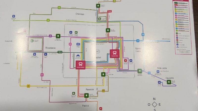 Mapa: así serán los nuevos recorridos de colectivos en San Juan