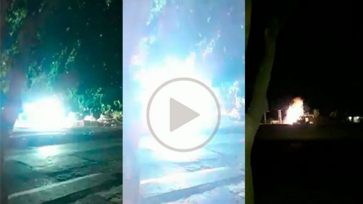 Impactante video: en plena medianoche, explotaron transformadores en Rawson