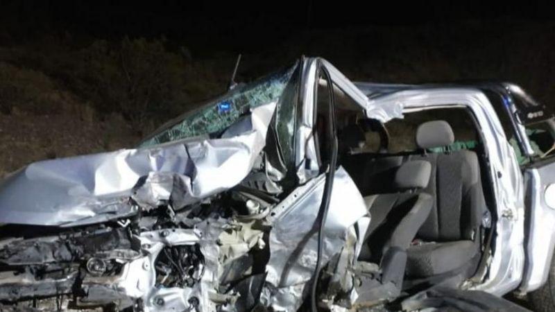 Triple accidente en Villicum: la camioneta quedó totalmente destrozada